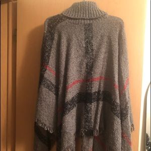Grey and red poncho!
